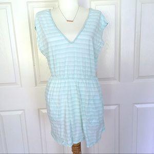 VOLCOM• Blue & White Striped Beach Coverup Dress